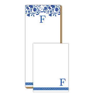 Blue and White Monogram F Notepad Note Set