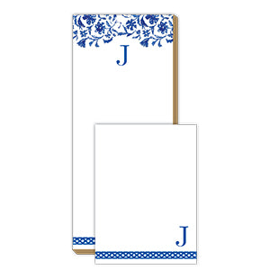 Blue and White Monogram J Notepad Note Set