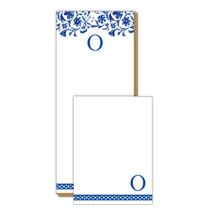 Blue and White Monogram O Notepad Note Set