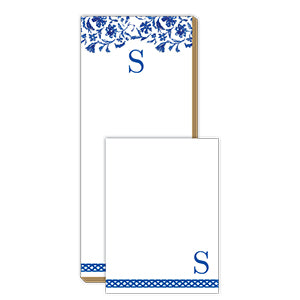 Blue and White Monogram S Notepad Note Set