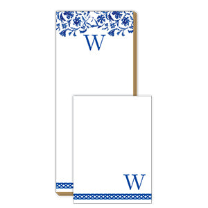 Blue and White Monogram W Notepad Note Set