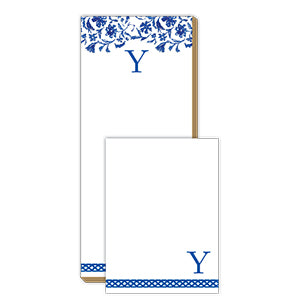 Blue and White Monogram Y Notepad Note Set