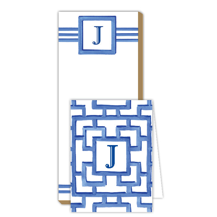 Lattice Monogram J Notepad Note Set