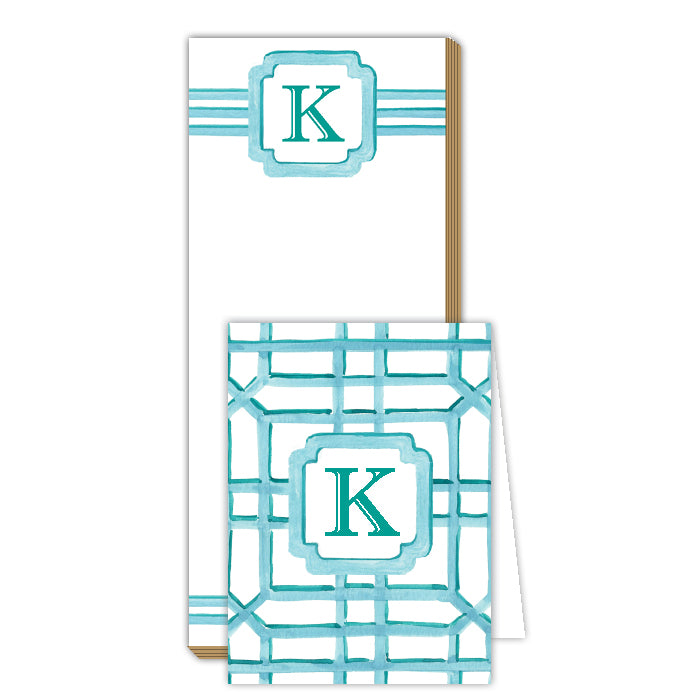 Lattice Monogram K Notepad Note Set