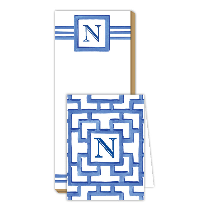 Lattice Monogram N Notepad Note Set