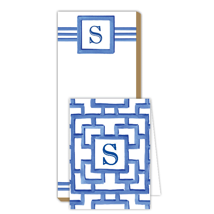 Lattice Monogram S Notepad Note Set
