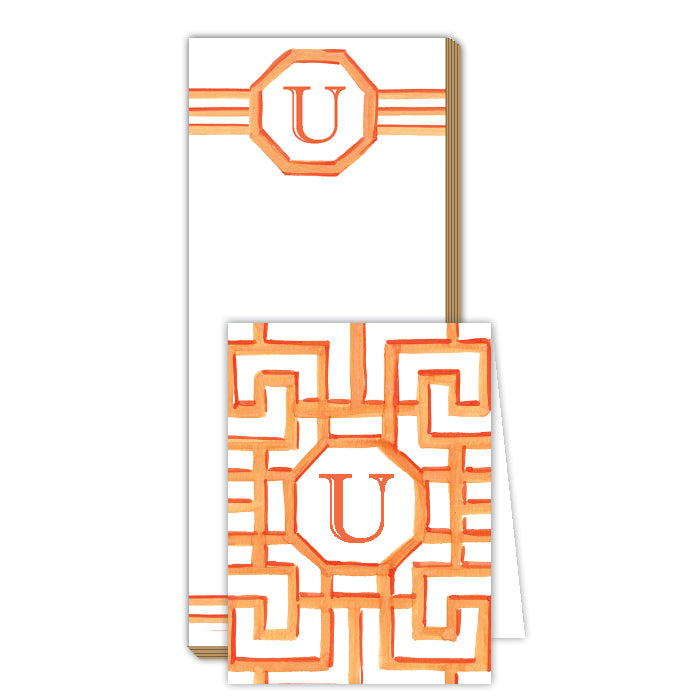 Lattice Monogram U Notepad Note Set
