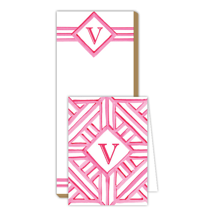 Lattice Monogram V Notepad Note Set