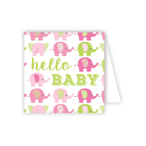 Hello Baby Pink and Green Elephants Enclosure Card