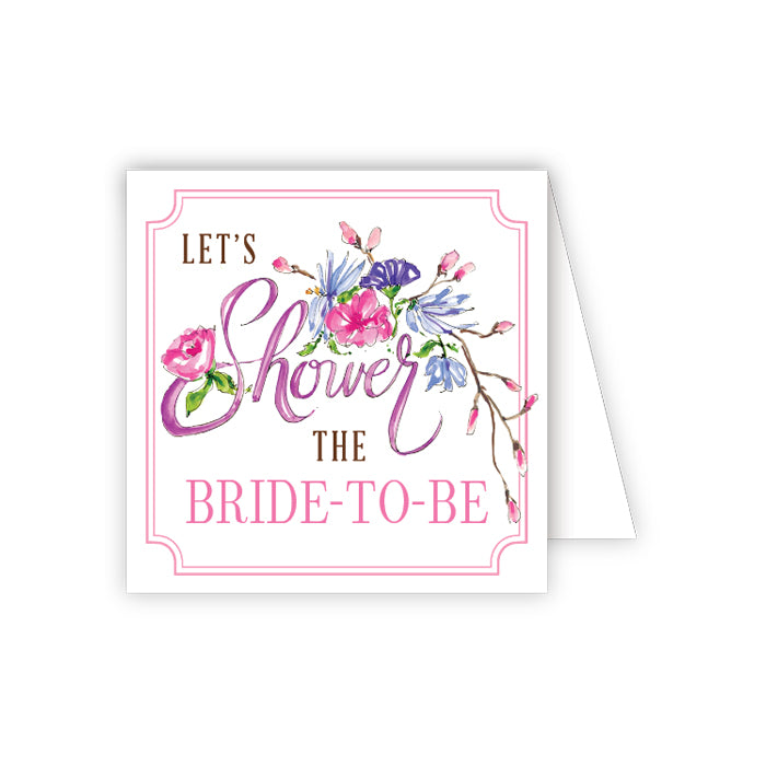 Shower the Bride-to-Be Pink Floral Enclosure Card