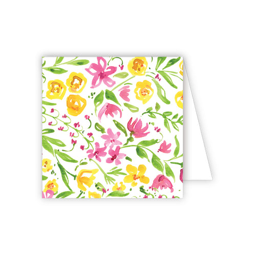 Pink and Yellow Floral Enclosure Card