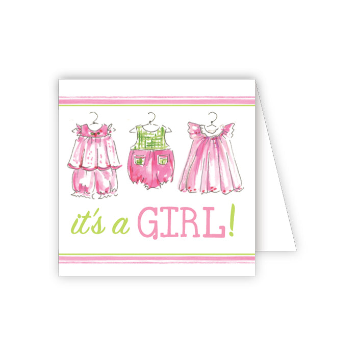 Its a Girl Pink Clothes Enclosure Card