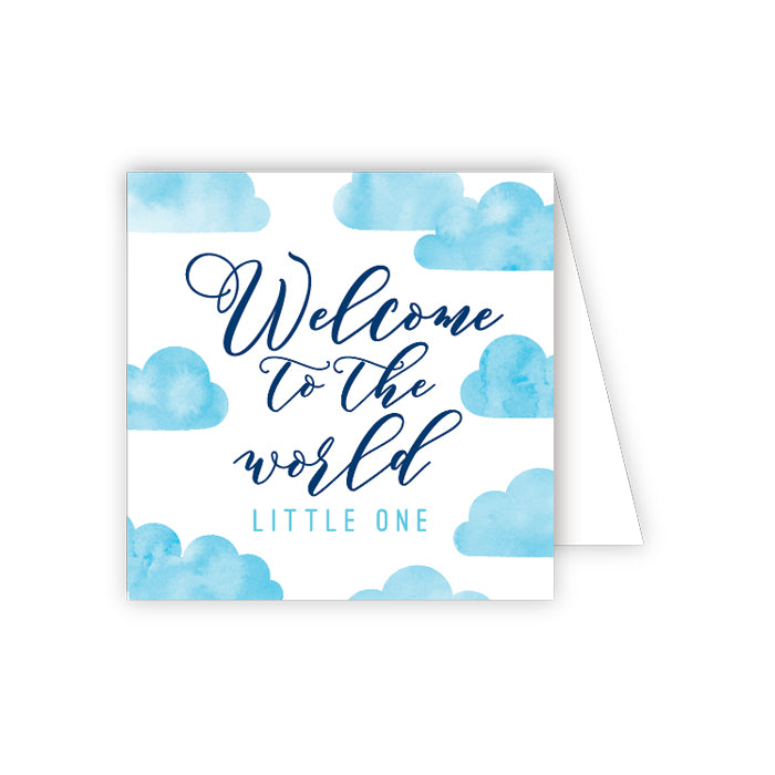 Welcome To The World Little One Blue Clouds Enclosure Card