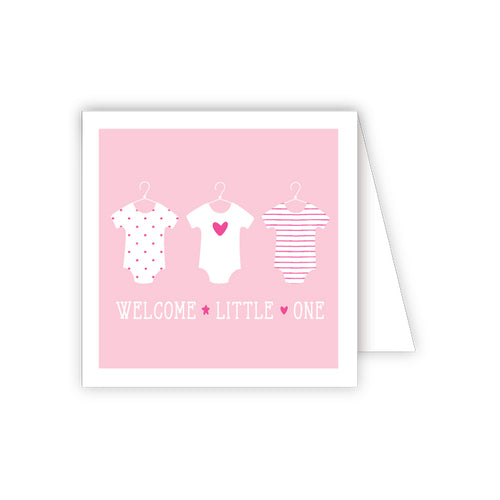Welcome Little One Pink Onesies Enclosure Card
