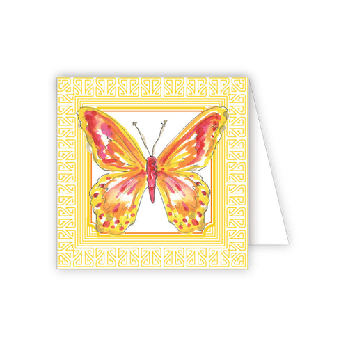 Handpainted Butterfly Yellow Enclosure Card