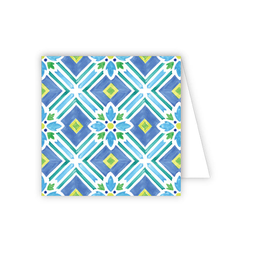 Handpainted Tiles Blue and Green Enclosure Card