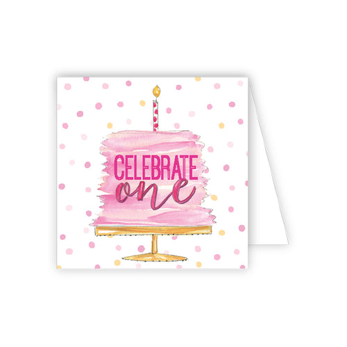 Celebrate One Pink Cake Enclosure Card