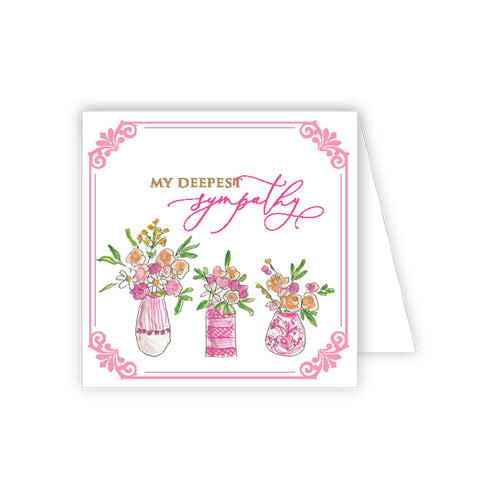 With My Deepest Sympathy Floral Vases Enclosure Card