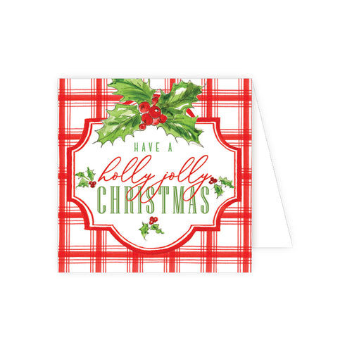Have A Holly Jolly Christmas Red Plaid Enclosure Card