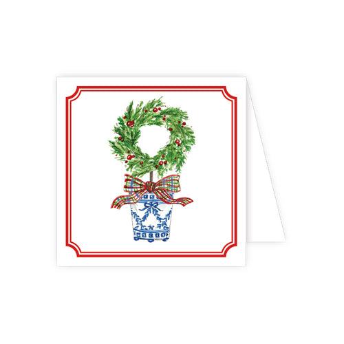 Holiday Wreath Topiary Enclosure Card