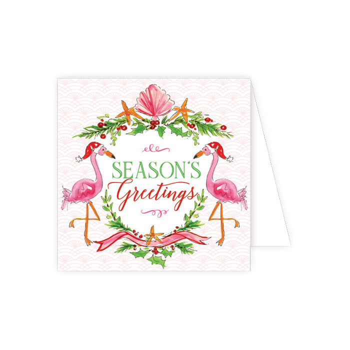 Season's Greetings Flamingos Enclosure Card