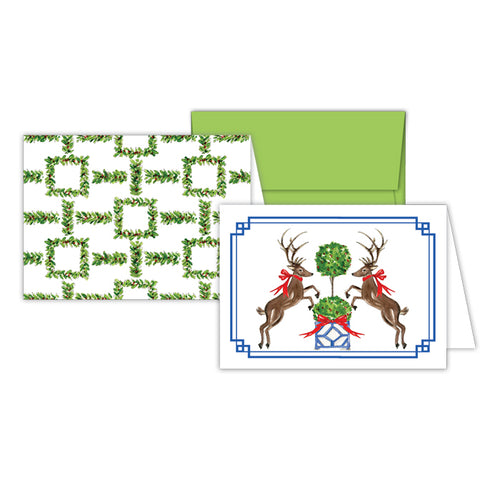 Holiday Reindeer-Holiday Lattice Stationery Notes