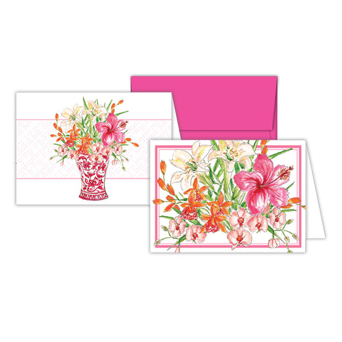 Hibiscus and Lilies and Florals Pink Vase Petite Note