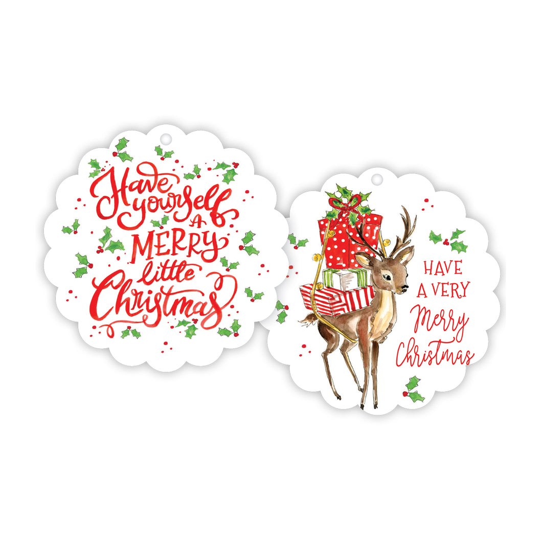 Have Yourself A Merry Baby Reindeer Scalloped Gift Tag