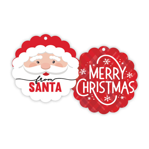 Merry Christmas Santa Scalloped Gift Tag