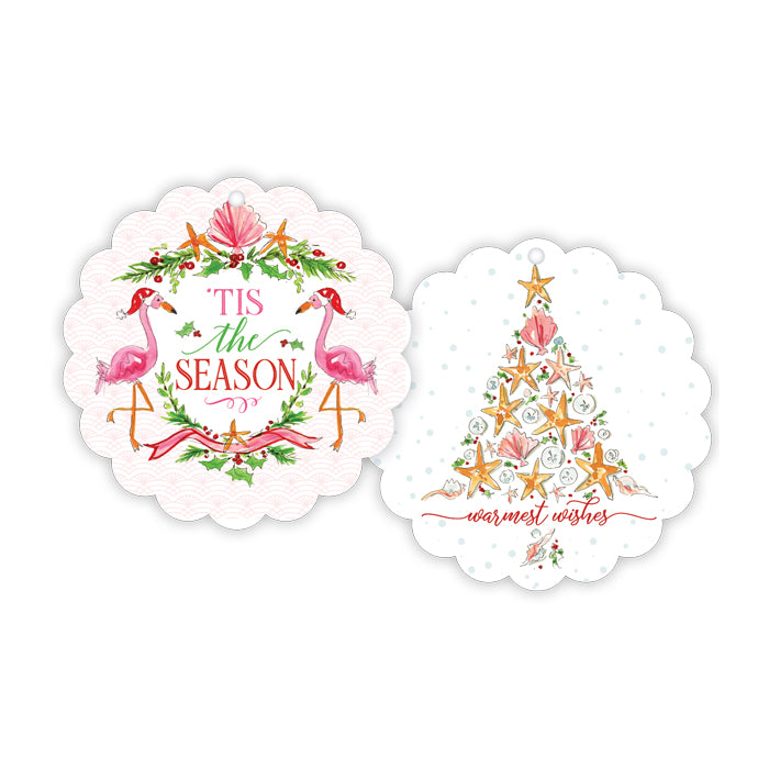 Tis The Season Flamingo Seashells Scalloped Gift Tag