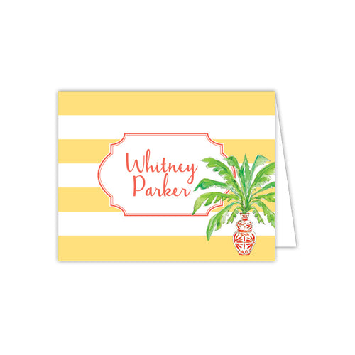 Potted Palm Orange with Yellow Stripe Folded Note