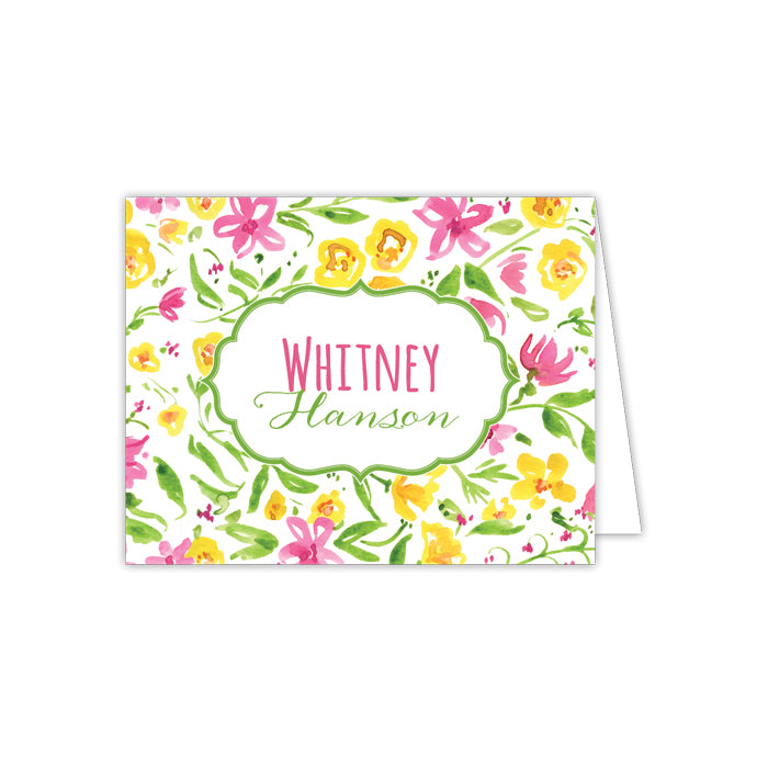 Green and Yellow Floral Folded Note