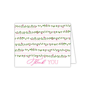 Floral Vine Pink and Green Folded Note