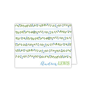 Floral Vine Blue and Green Folded Note