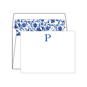 Blue and White  Monogram P Social Set