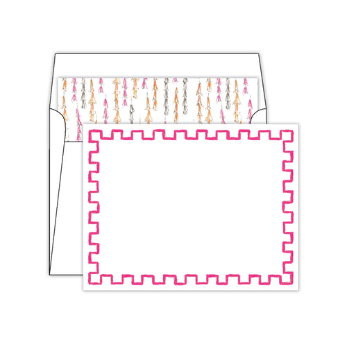 Handpainted Hot Pink Block Border Social Set