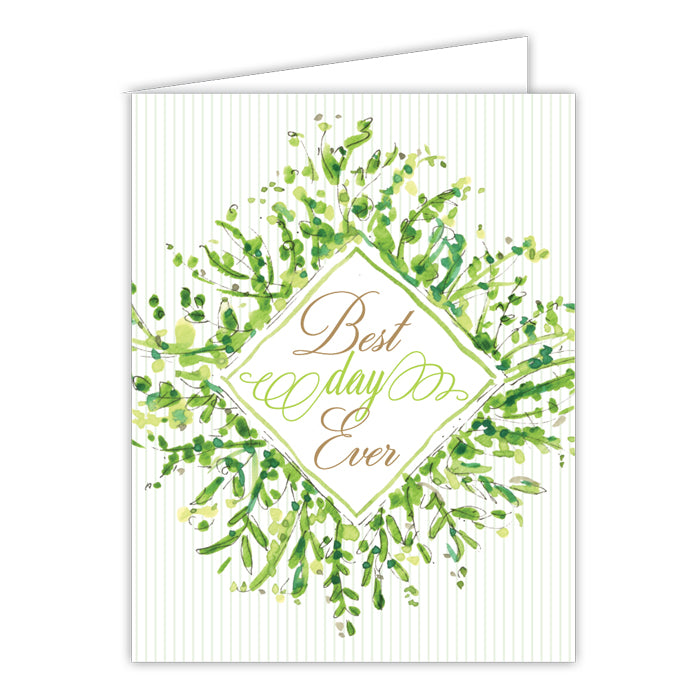 Best Day Ever Greenery Small Folded Greeting Card