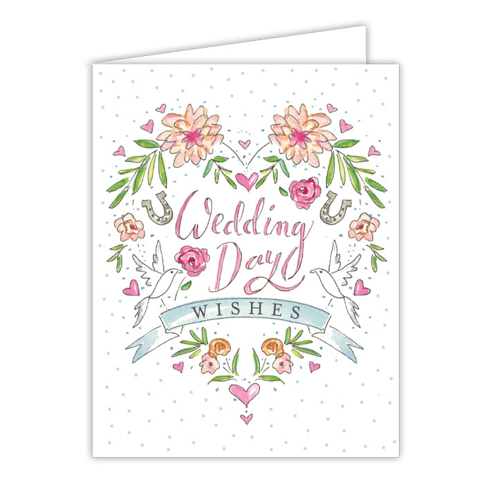 Wedding Day Wishes Small Folded Greeting Card