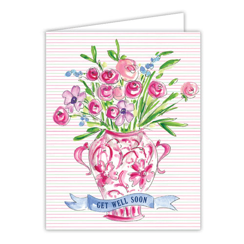 Get Well Soon Florals in Vase Small Folded Greeting Card