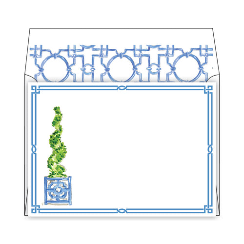Spiral Topiary in Asian Pot Social Stationery