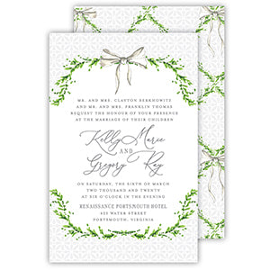 Handpainted Greenery Wreath With Bow Large Flat Invitation