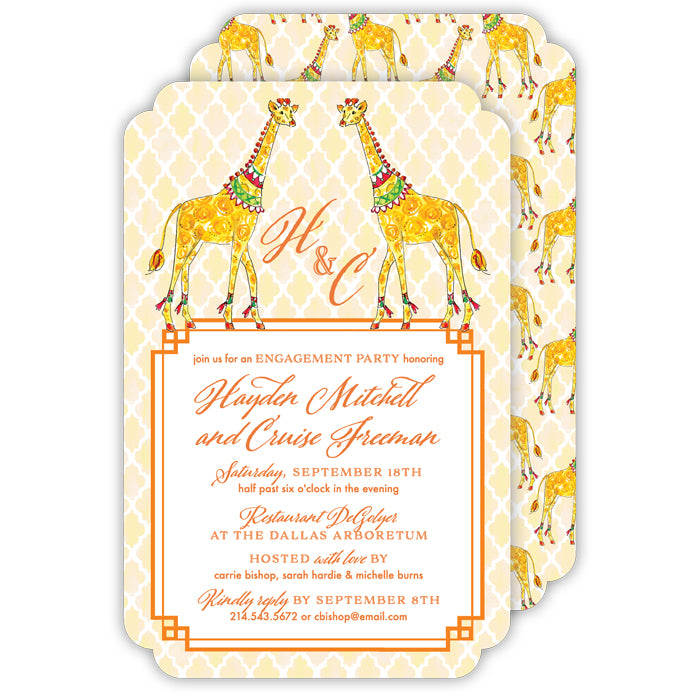 Animal Duo Giraffe Large Die-Cut Invitation