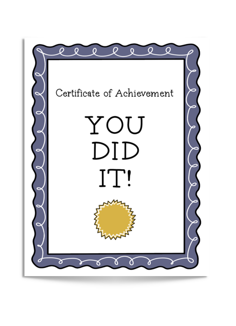 you did it certificate card