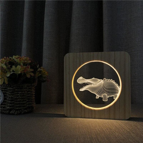 Lampe crocodile en bois | Univers Crocodile | Peluches