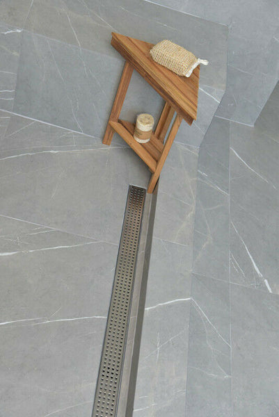 Side Outlet Linear Shower Drain, Traditional Square Design by SereneDrains