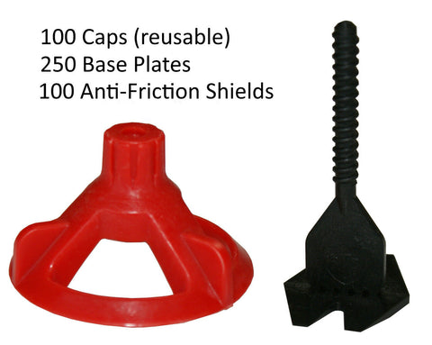 Spin Doctor Tile Leveling System 250 KIT: Base Plates, Caps, Shields