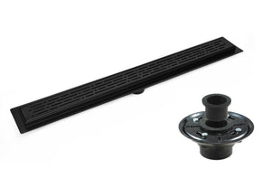 Matte Black Linear Shower Drain with 2 Inch ABS Shower Drain Base Flange