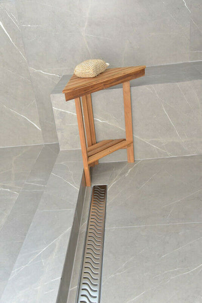 Side Outlet Linear Shower Drain, Ocean Wave Design by Serene Drains