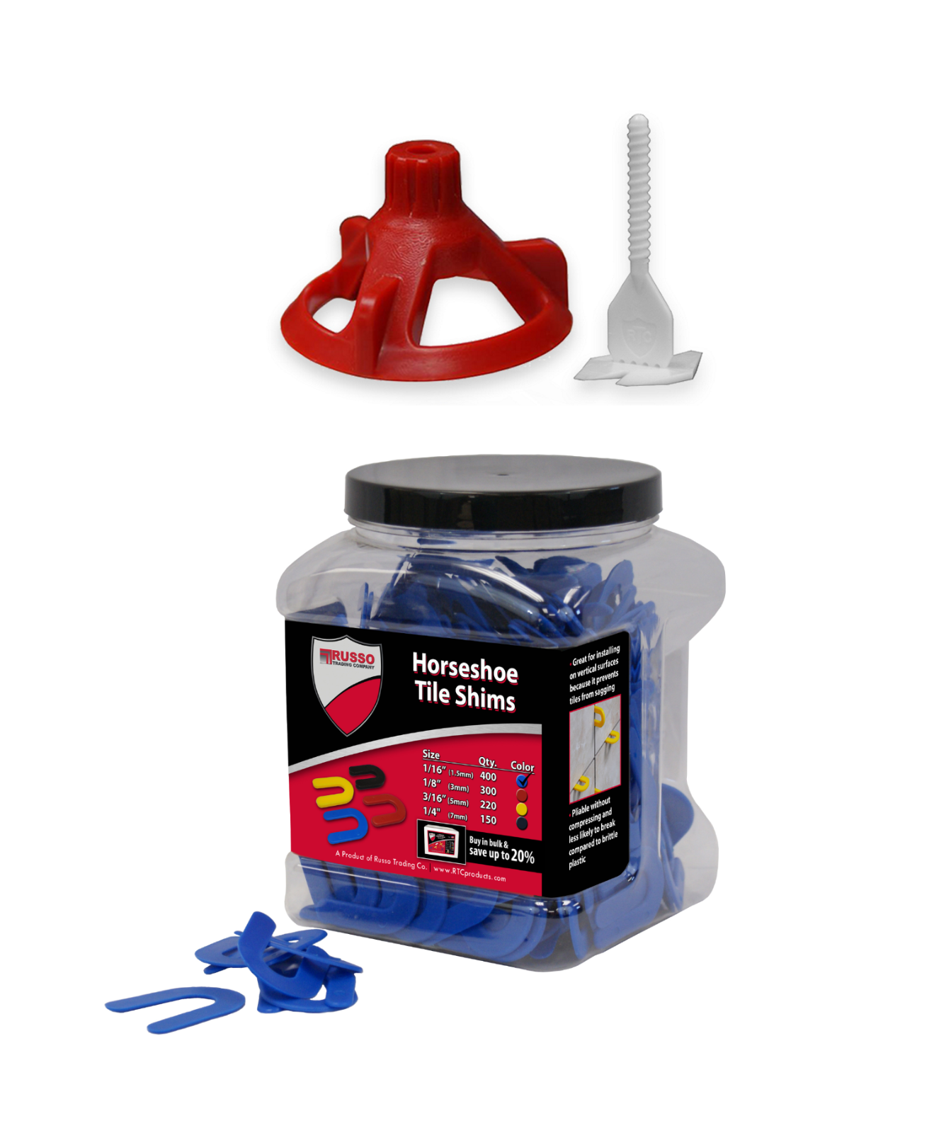 Spin Doctor Tile Leveling System with Horseshoe Tile Spacers 1/16 Inch Set