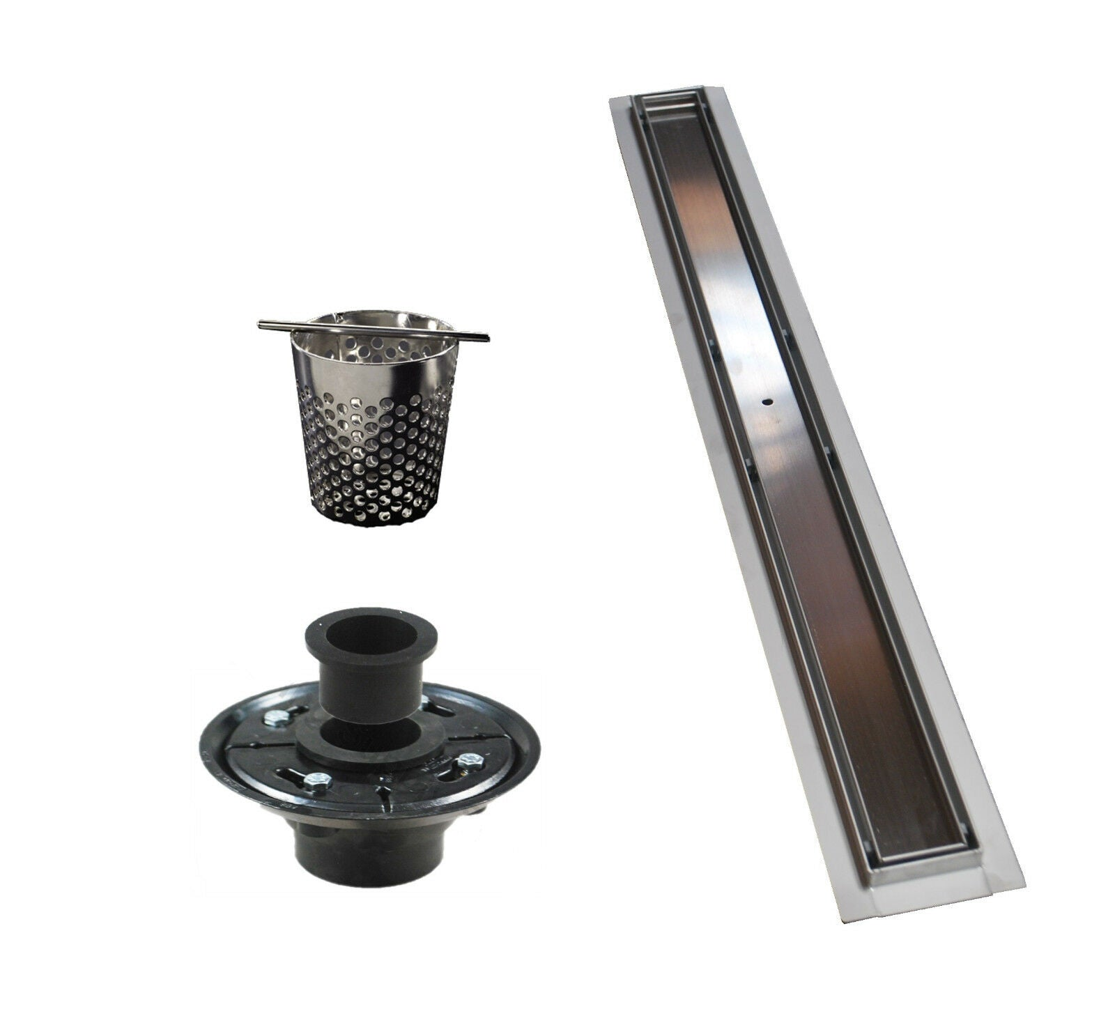 48 Inch Linear Drain with 2 Inch ABS Shower Drain Base Flange (6 Designs)
